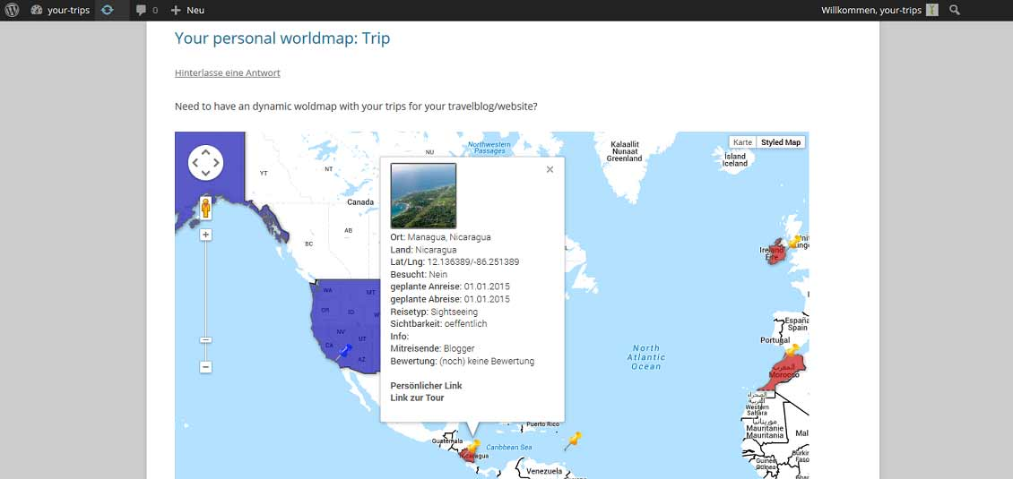 travelmap, reiseblogger, wordpress, weltkarte